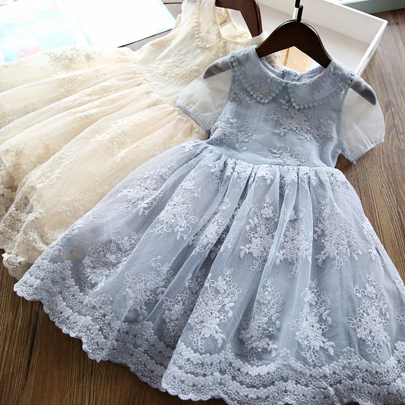 Heavenly Dusty Blue Girls Toddlers Lace Dress Special Occasion Girls Toddler Dresses Baby Princess Wedding Flower Girl Birthday