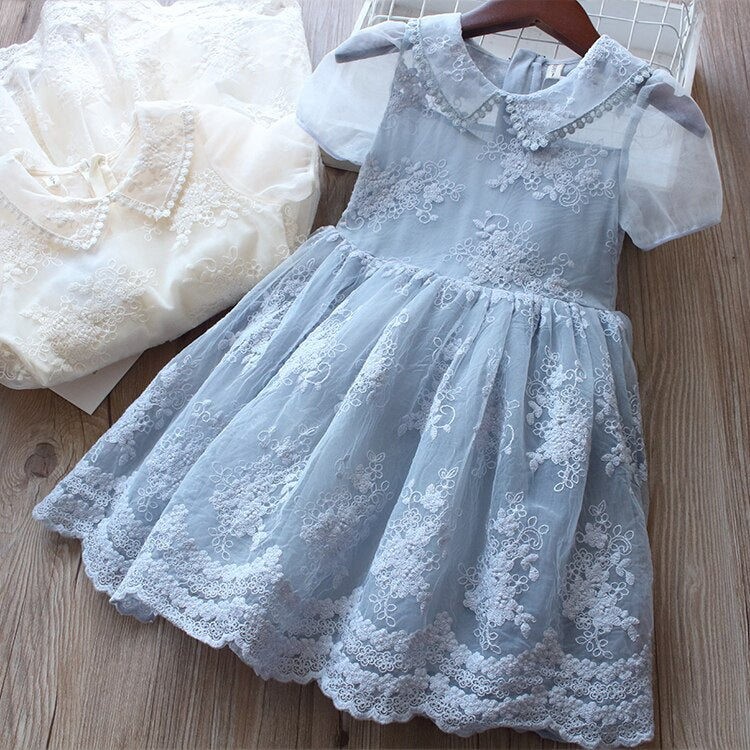 Heavenly Dusty Blue Girl's Toddlers Lace Dress Special Occasion Girls Toddler Dresses Baby Princess Wedding Flower Girl Birthday