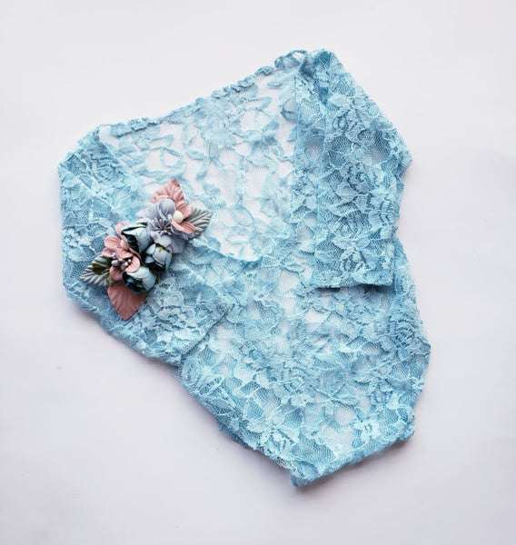 Powder Blue Lace Photo Prop Bodysuit Newborn Girl Bodysuit Girl's Baby Shower Gift Includes Handmade Flower Headband Infant Photography Props Gifts