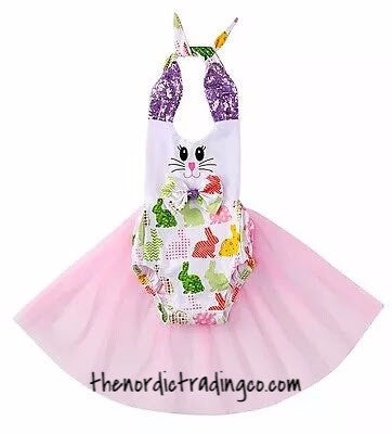 Baby Girls Toddler Easter Bunny Print Tutu Dress Pink Tulle Skirt Girl's Infant Toddler Clothing kids Dresses Rompers Tutu's Photo Prop Egg Hunt