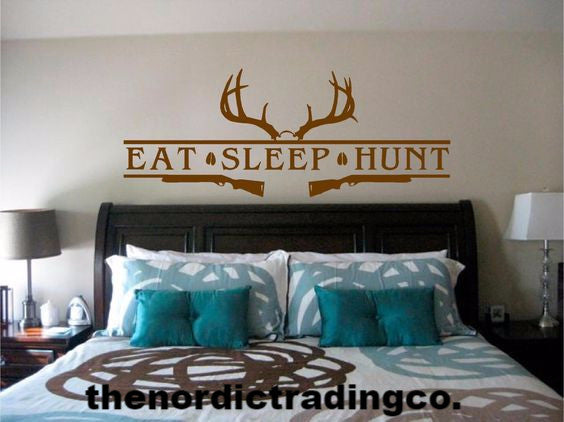 EAT SLEEP HUNT Deer Antlers Two Rifles Customizable Wall Decal Sticker Boys Room Nursery Man Cave Dorm Home Decor