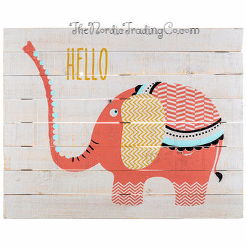 Coral The Elephant Darling Coral White & Gold Painted Pallet Sign Gallery Wall Art Home Decor Baby Room Children's Nursery Boho Chic