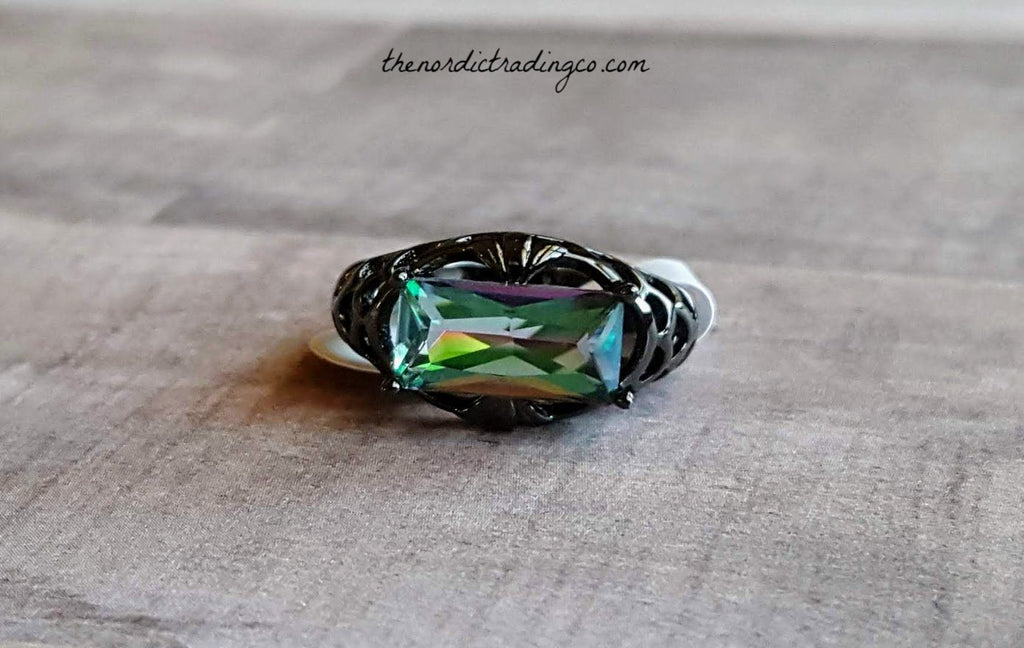 Mystic Rainbow Black Plated Emerald Cut Women's Gift Rings Exotic Fire Topaz 6,7,8,9 Womens Jewelry Gifts for Her Anniversary Birthday Anilla