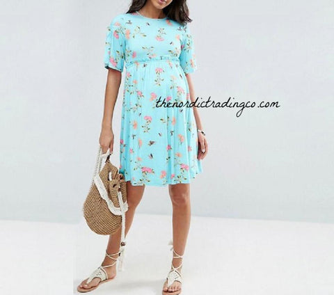 6f65628845 Blue or Pink Maternity Dress English Roses Floral Pattern Women's Flower  Pregnancy Dresses Baby Shower Boy