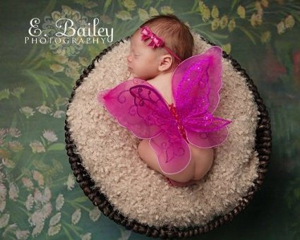 Tiny Fuchsia Pink Fairy Handmade Fairy Wings and Headband Set for Newborn Baby Couture Photo Prop Lovely Heirloom Infant Girl Baby Shower Gift Birth Announcement Photography