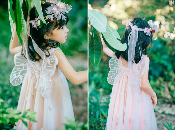 Flower Fairy Wings Girl's Party Dress Blush Pink or White Toddler Little Girl's Pixie Angel Dresses Garden Wedding Birthday Party Photo Prop Children's Occasion Attire Flower Girl