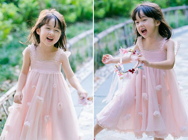 Vintage Fairy Flower Girl Dresses Blush Pink or White Toddler Girl's SZ 2T - 7 Girls Wings Adorn the Back Fairies Pixie Garden Wedding Birthday Party Beach Boho Photo