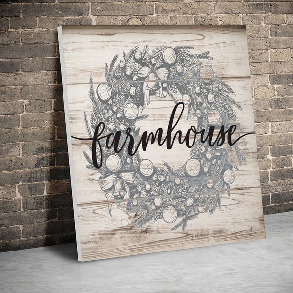 Farmhouse Christmas Wreath Print Wall Sign Hanging Art Home Interior Designs Framed / Unframed Beautiful House Signs Country Farm Rustic Industrial Vintage