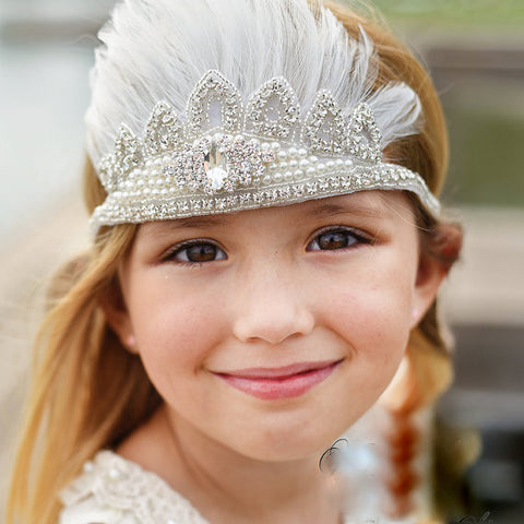 Hand Crafted Boho Princess Spray of Feathers & Vintage Pearls Rhinestone Beaded Crown White Ties to fit child to adult Photography Wedding Photo Prop Elegant Festival Rustic