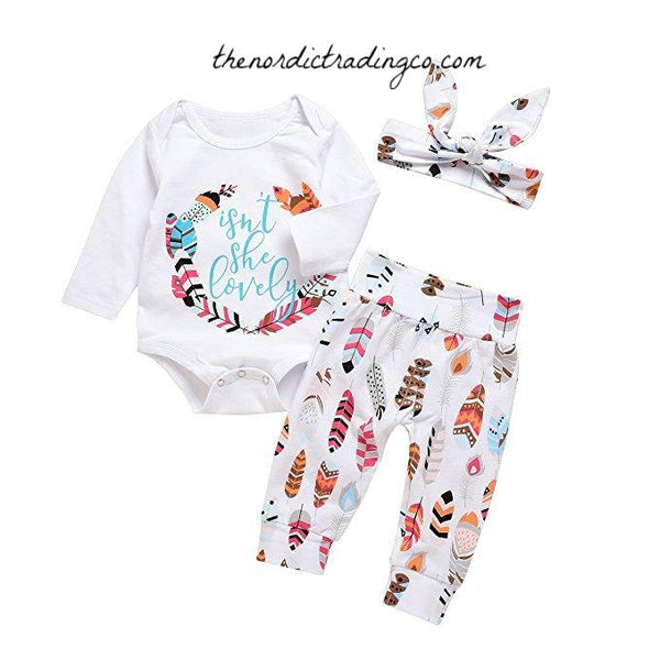 New Baby Girl's Nordic Gift Outfits Isn't She Lovely Boho Feathers Design Girls' Baby Shower Gifts Infant Girl Sets 0, 3, 6, 12/18 mo USA