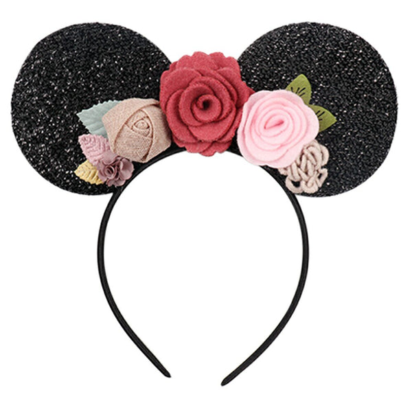 Women's Floral Mickey Minnie Mouse T Shirt & Matching Handmade Ears Felt Flowers Head Band Top XL Shirts Disney World Inspired Womens Clothing