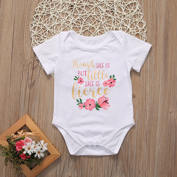 Though She Be Little She IS Fierce Infant Girl's Romper Bodysuit Headband Set Girl Baby Shower Gift Ideas Girls' Clothing Gifts Newborn 0/6 mo Clothes Free Gift