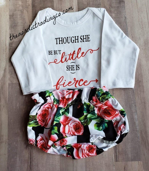 Nordic Infant Girl Outfit & Accessories Though She Be But Little She Is Fierce LS Onesie Romper Rose Bottoms Bib 2 Headbands 0/6mo Baby Girl's Shower Gift Ideas Infant Girl Clothes Outfits Coming Home Sets