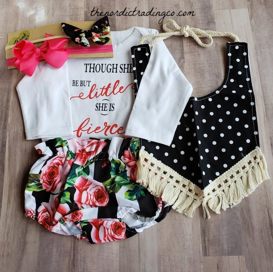 2a18768a0 Nordic Infant Girl Outfit & Accessories Though She Be But Little She Is  Fierce LS Onesie