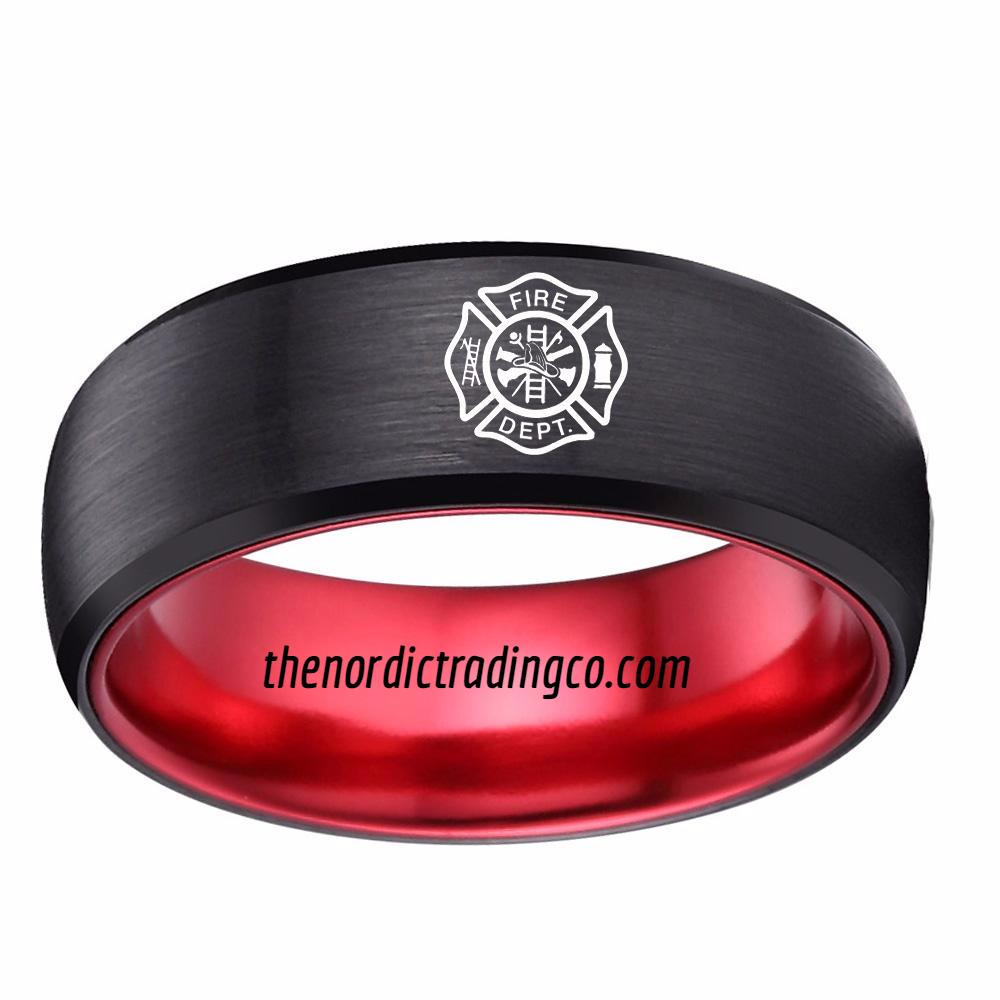 Firefighter Symbol Embossed On Black Red Tungsten Carbide Wedding ...