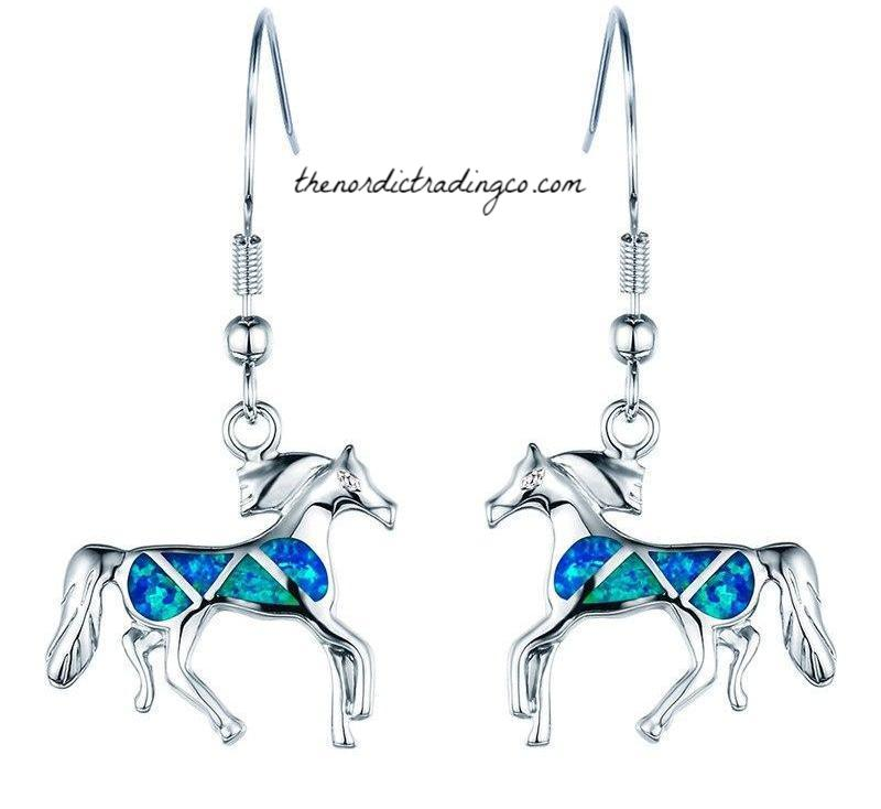 Southwest Silver Running Wild Horses Earrings Women's Created Blue Fire Opal Horse .925 Plating Jewelry Gifts Equestrian Ride Valentines Day Gift Girl's