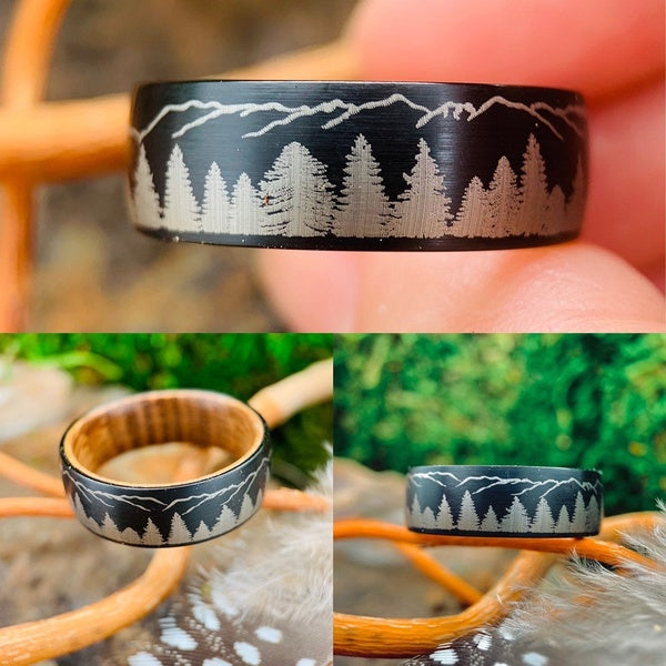Trees Mountains Black Brushed Titanium Mens Ring Silver Fir Trees Mountain Peaks Beautiful Wedding Band Outdoor Mens Gifts Bands Hunters Climber Hiker Camper Conservation Eco Jewelry