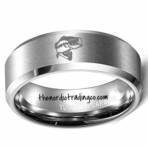 Large Mouth Bass Engraved Men's Fishing Sportsman Wedding Band Tungsten Carbide Bass Fish Fisherman Ring Jewelry Gifts Him Groom Anniversary Christmas Gift Dad