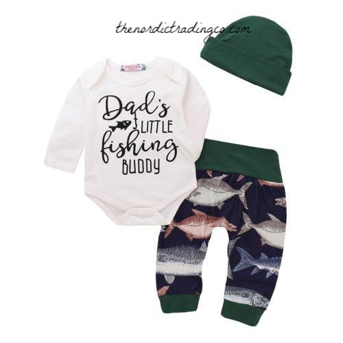 d67f1b711e83 Dad's Little Fishing Buddy Boys Outfit Fish Print Pant Hat Onesie Bodysuit  Romper Boy's Outfits Baby