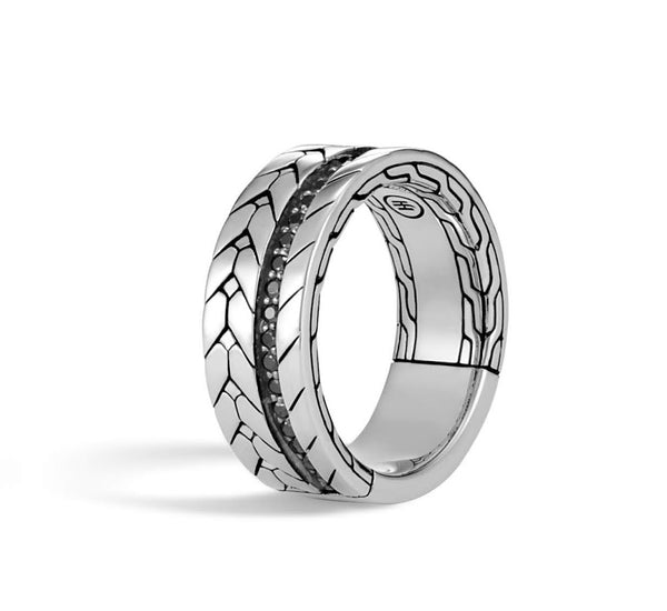 Masculine Chain Weave Wedding Band Men's Engagement Ring Black Inset CZ Solid Titanium Mens Ring's Jewelry Him Husband Groom Band's