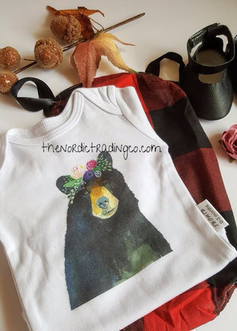 Baby Bear Newborn Girl's Set Graphic Onesie Buffalo Plaid Romper Mary Jane Leather Mocs Cherry Hairband sz 0 / 3 mo Layette Infant Girl Baby Shower Gifts Hip Clothes Sets
