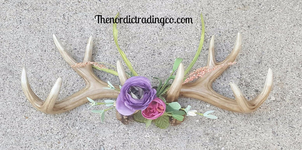 Beautiful Handmade Floral Deer Antlers Home Decor Rustic Wall Art fits many styles Shabby Chic Lake Lodge Cabin Hunter