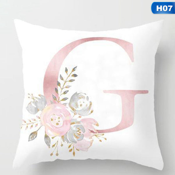 Romantic Personalized Letter Pillow Little Girl's Bedroom Nursery 18x18 Square Baby Shower Gifts Monogrammed Home Decor Bed Pillows Flowers Gift Shabby Chic Rustic Farmhouse