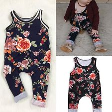 Baby Girl's Rustic Flowers Romper Infant Girls Clothes Headband Navy Rust Flowery Pattern 0/6 mo Baby Shower Gift Ideas