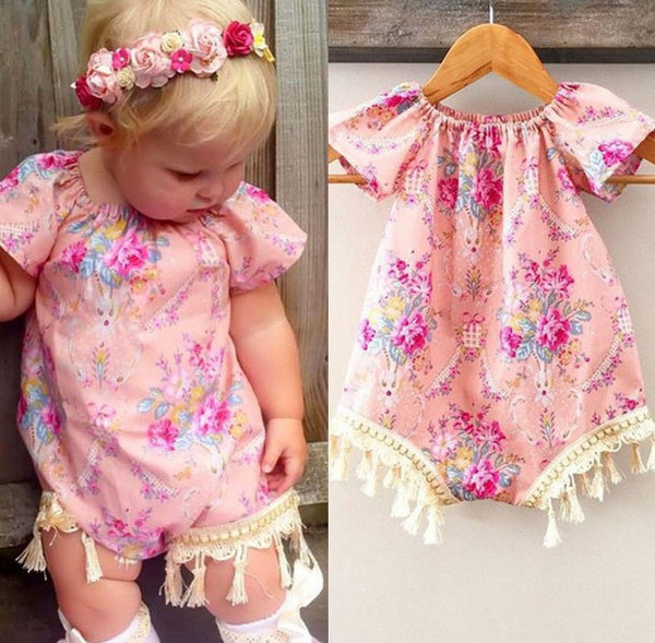Girl Floral One Piece Romper Pink Ivory Fringe Boho Chic Baby Short Summer Playsuit Infant Toddler Girl's Clothing Headband Kids Childrens Clothes