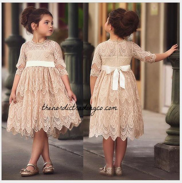 Girls Vintage Lace Dresses White Apricot Beige Red Toddler Little Girl's Flower Girl Dress Christmas Special Occasion Girls' Clothing Kids 3T 4T 5 6 7