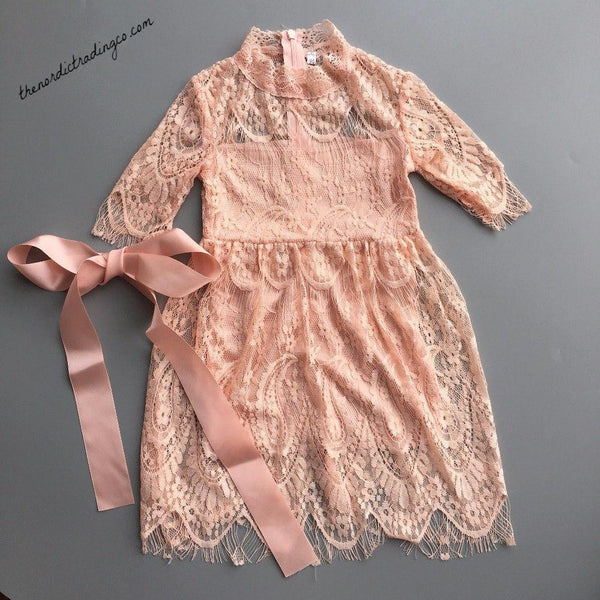 Girls Vintage Lace Fairy Tale Dresses White Apricot Red Toddler Little Girl's Flower Girl Dress Christmas Special Occasion Girls' Clothing Kids 3T 4T 5 6 7