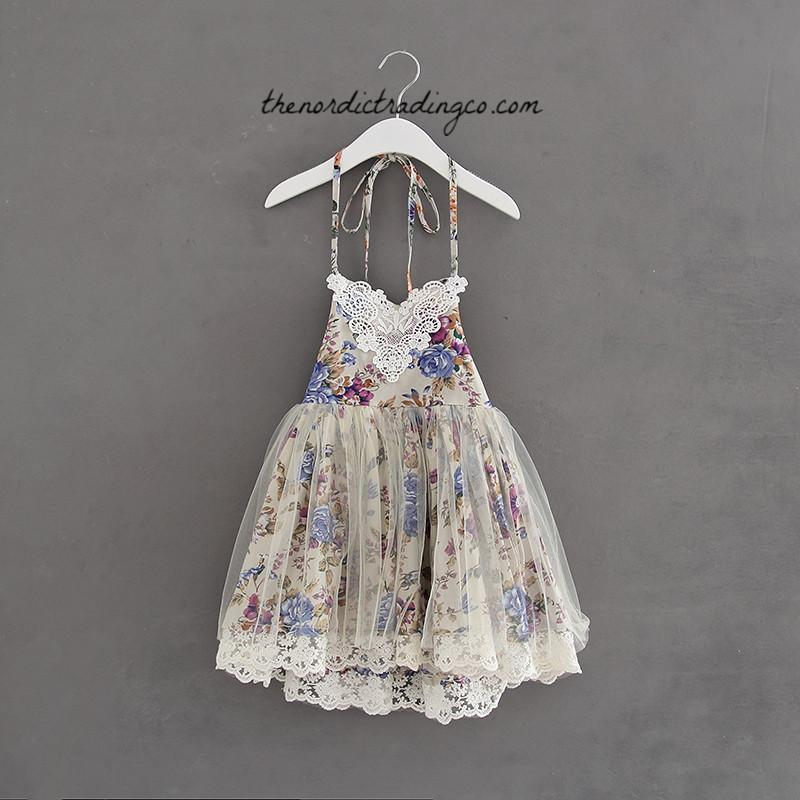 Rustic Floral Flower Girl Dresses Vintage Lace Barn Forest Beach Wedding 3 Colors Blue Green Purple