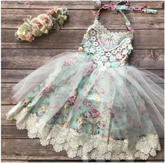 e82297a7272c ... Vintage Floral Flower Girl Backless Halter Dresses Rustic Barn Beach  Wedding 3 Colors Blue Green Purple ...