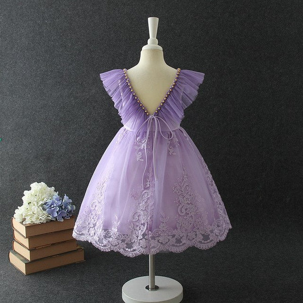 Lavender Dream Flower Girl Dress Tulle Lace Flower Applique Gold Pearl Trim Accents Ruffle Back Flutter Sleeve Wedding Attire Easter Clothing Girls Toddler