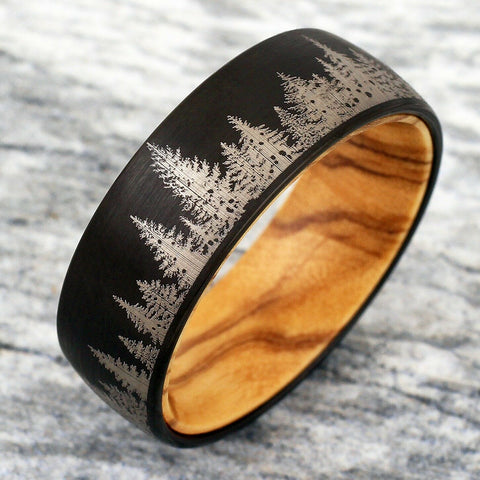 Black Forest Mens Wedding Rings Barrel Wood Inner Band Mens Womens Couples Outdoor Inspired Jewelry Hunters Woods Conservationist DNR Law