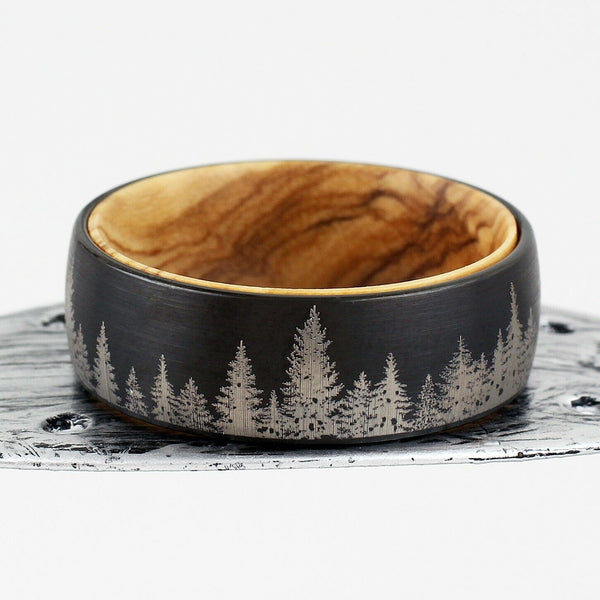 Black Forest Mens Wedding Ring Barrel Wood Inner Band Environmental Protectors Jewellery Jewelry Hunters Woods Parks Law DNR EPA