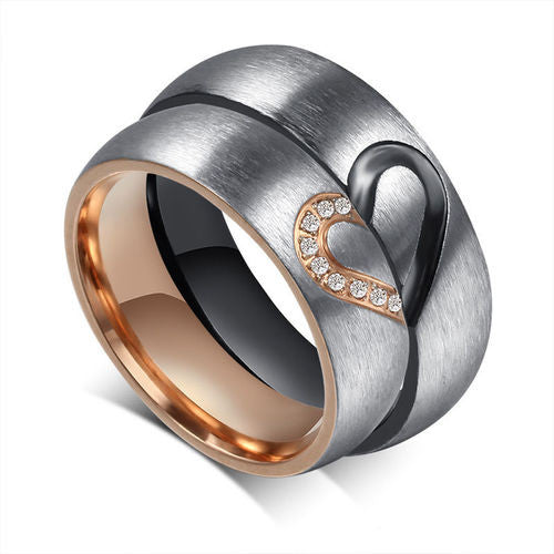 Multiple Sizes Forever Love 2 Rings Wedding Band Set Brushed Titanium Rings Men's & Women's Engagement / Wedding Jewelry