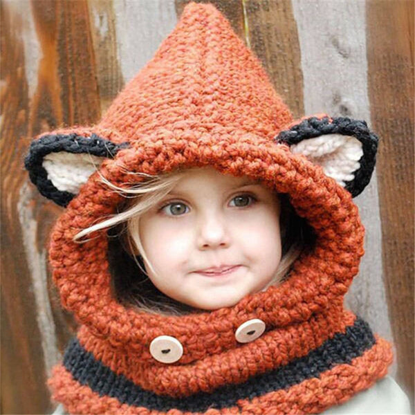 Little Girls Red Fox Cowl Hood Hand Knit Super Warm Wear thru Fall Winter Hat Outerwear Kids Childrens