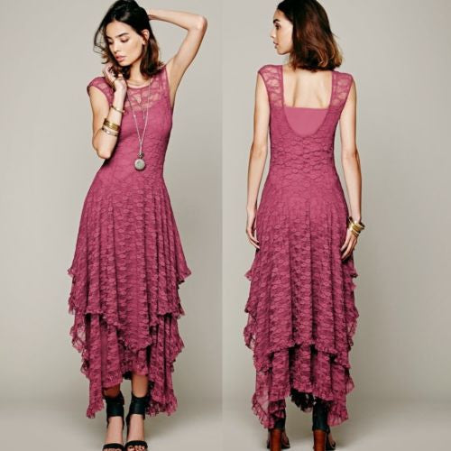 Romantic Tiered French Courtship Women's Lace Dress Dusty Rose sz Large / Xlarge Boho People Women's Lace Clothing