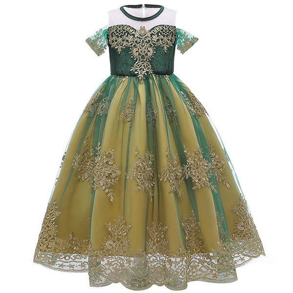 Frozen Inspired Princess Dress / Gown Anna Crown Full Length Girls Birthday Party Dresses Halloween Costume Gowns Girl Toddler Kids Clothes Disney Style Clothing