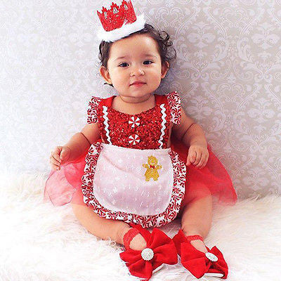 Peppermint Baby Girl Christmas Romper Tutu Dress Candy Cane Photo Prop Baby Shower Gift Girl Clothes Holiday Toddler Fashions Dresses Apron Clothing Holiday