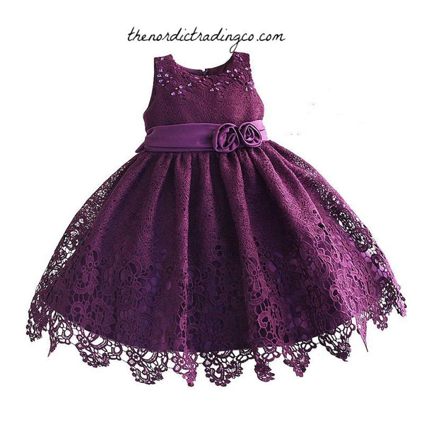 Amazing Lace Plum Girl's Flower Girl Dresses Sleeveless Dress Toddler Little Girls Midi Tea Length A Line Ball Gown Party Eggplant Purple Children's Kids Clothes USA
