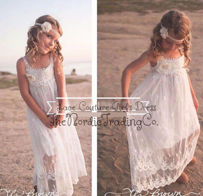 Girl's White Beach Style Lace Dress sz 2T - 10 Little Girls Toddler Youth Flower Girl's Dresses Portrait Photo Prop Kids Tween Clothing New Peach
