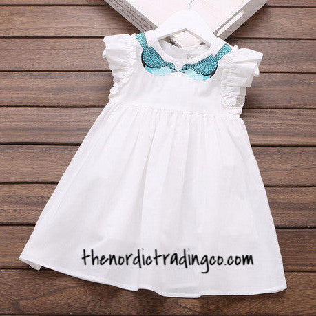 Girl's Dresses Nordic Little Girl Toddlers Fashions Turquoise Blue Birds Embroidered Collar White Cotton Dress sz 2 -6 Kids Childrens Clothing