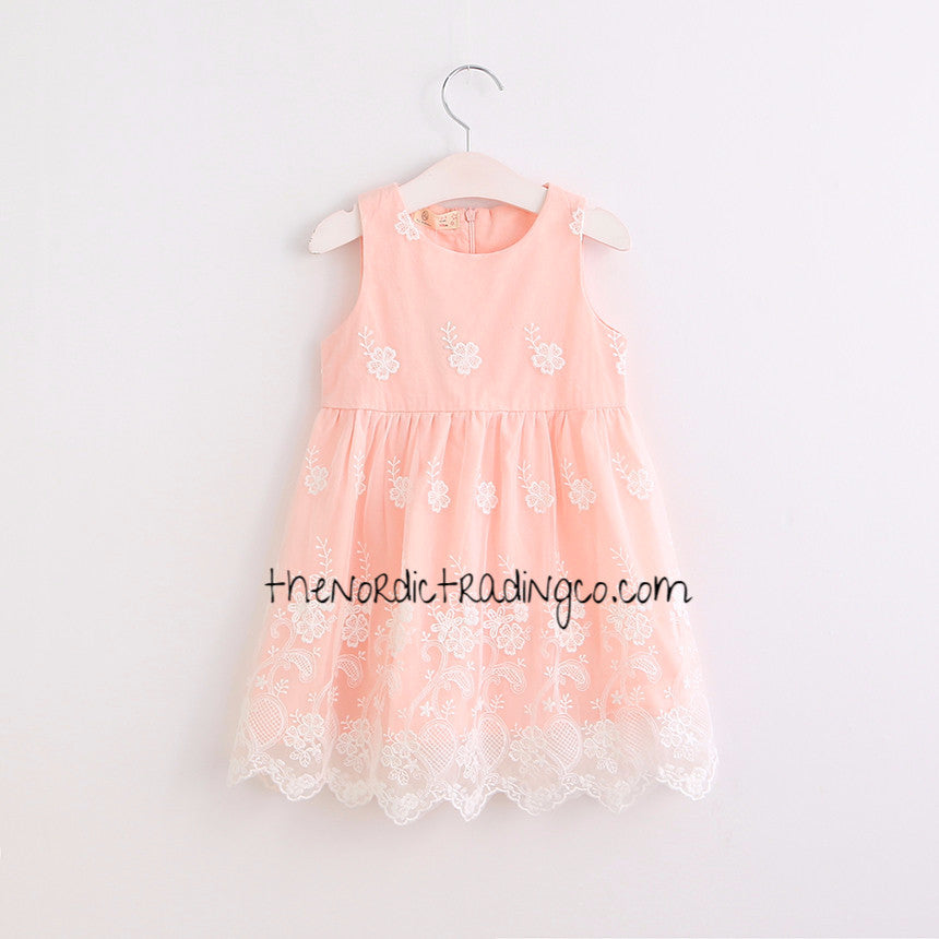 Little Girls Sweet Coral Peach Ivory Overlay Dress Sleeveless Scalloped Hem Girl's Toddler Dresses Wedding Easter Special Occasion Clothing Clothes Kids