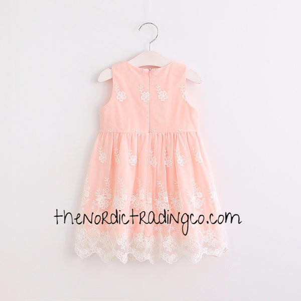 Little Girls Sweet Coral Lace Dress sz 2 - 6 Sleeveless Scalloped Hem Girl's Toddler Dresses Wedding Easter Special Occasion Clothing Clothes Kids