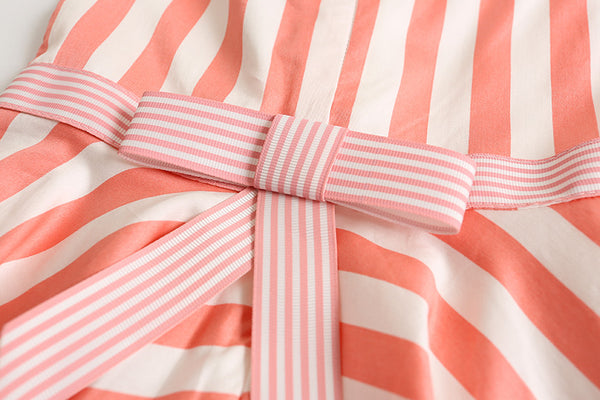 Coral Stripe Little Girl's Toddler size  3T - 6  Easter Spring Summer Dresses Flower Girl Birthday Party Clothing