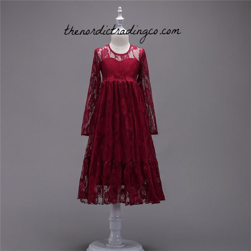 4125ce0416 Rustic Red Long Lace Flower Girl Dress Big Ruffled Hem Girl s Maroon Maxi  Dresses Wedding Ideas
