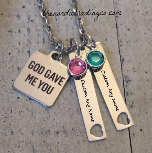 God Gave Me You Custom Mommy Necklace Up to 4 Kids Names & Birthstone Charms Mother's Jewelry Accessories Personalized Mom Gifts