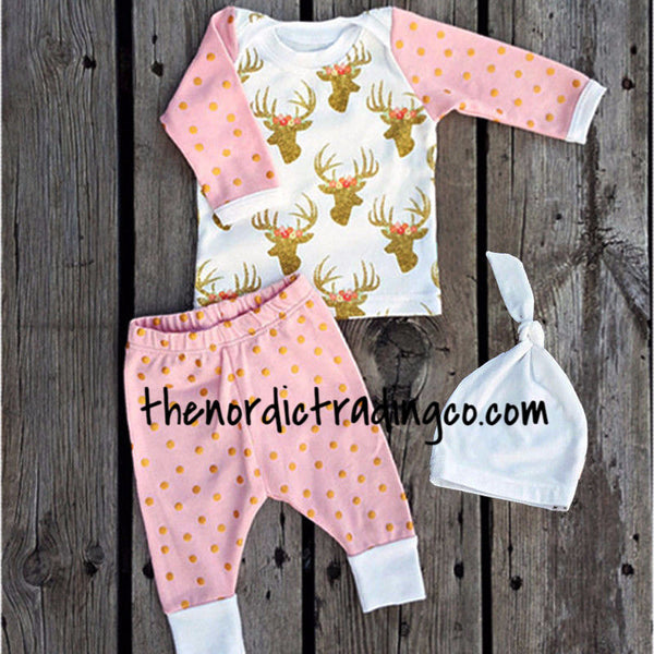 Gold Dots Deer Floral Antlers Baby Girl Newborn 3 pc. Gift Set Infant 0 to 4 mo Infant Clothing Baby Shower Gifts USA